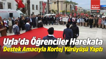 Urla'da Öğrenciler Harekata Destek Amacıyla Kortej Yürüyüşü Yaptı
