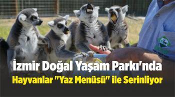 """İzmir Doğal Yaşam Parkı'nda Hayvanlar, """"Yaz Menüsü"""" ile Serinliyor"""