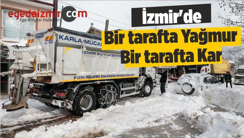 izmir'de Kar! Burası Vallahi de Billahi de İzmir! Bir tarafta Yağmur Bir tarafta Kar