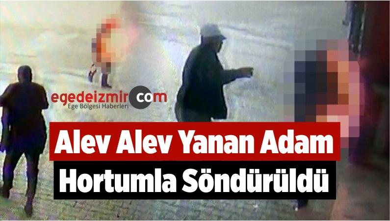 Alev Alev Yanan Adam Hortumla Söndürüldü