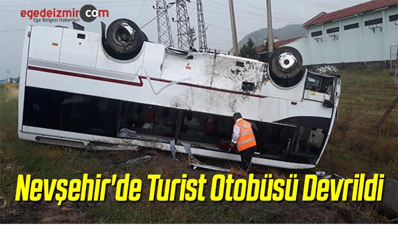 Nevşehir'de Turist Otobüsü Devrildi