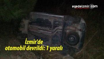 İzmir'de Otomobil Devrildi