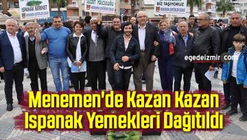 Menemen'de Kazan Kazan Ispanak Yemekleri Dağıtıldı