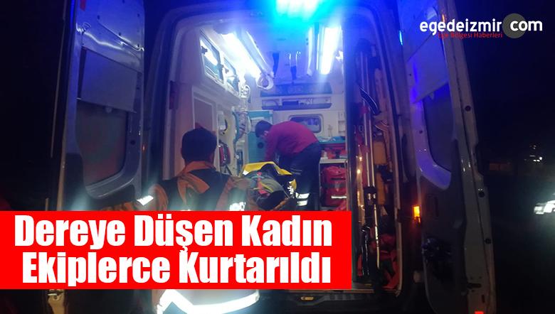 İzmir'in Konak İlçesinde Dereye Düşen Kadın Ekiplerce Kurtarıldı
