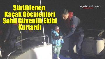 Sürüklenen Kaçak Göçmenleri Sahil Güvenlik Ekibi Kurtardı