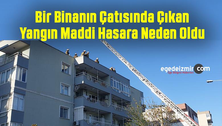 İzmir'de Beş Katlı Binanın Çatısı Yandı