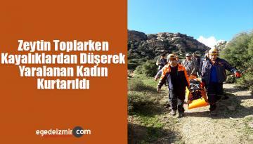 Zeytin Toplarken Kayalıklardan Düşerek Yaralanan Kadın Kurtarıldı