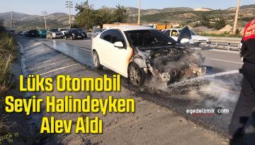 Lüks Otomobil Seyir Halindeyken Alev Aldı