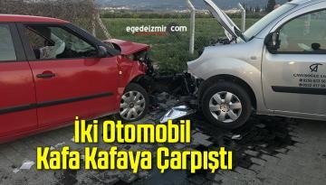 İki Otomobil Kafa Kafaya Çarpıştı; 1'i Ağır 4 Kişi Yaralandı