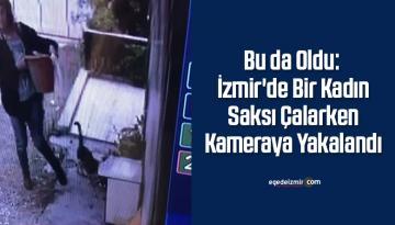 Bu da Oldu: İzmir'de Bir Kadın Saksı Çalarken Kameraya Yakalandı