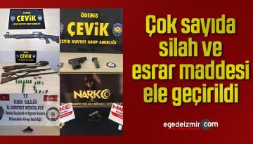 İzmir'de çok sayıda silah ve esrar maddesi ele geçirildi