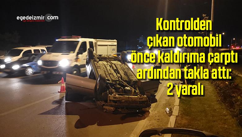 Kontrolden çıkan otomobil önce kaldırıma çarptı ardından takla attı: 2 yaralı