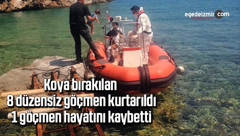 Koya bırakılan 8 düzensiz göçmen kurtarıldı, 1 göçmen hayatını kaybetti