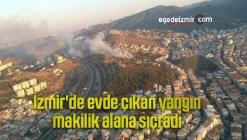 İzmir'de evde çıkan yangın makilik alana sıçradı