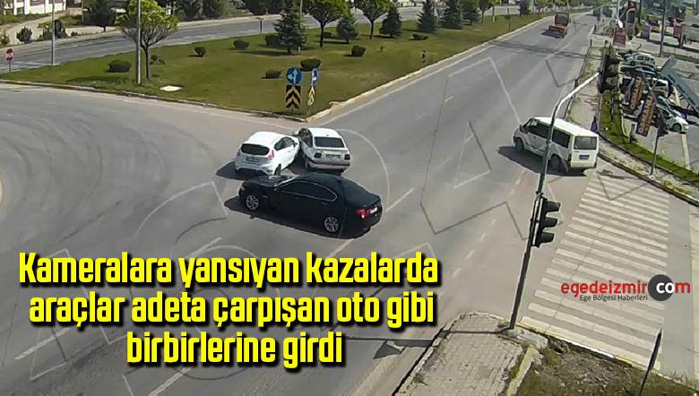 Kameralara yansıyan kazalarda araçlar adeta çarpışan oto gibi birbirlerine girdi