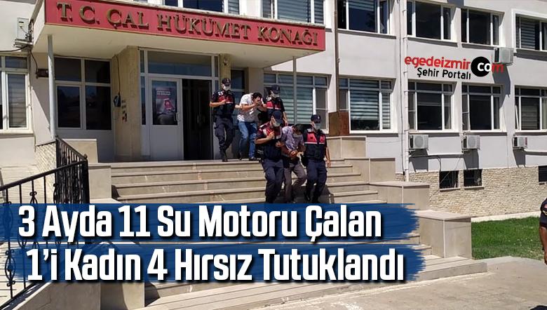 3 ayda 11 su motoru çalan 1'i kadın 4 hırsız tutuklandı