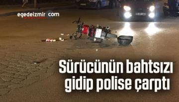 Sürücünün bahtsızı gidip polise çarptı