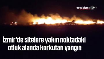 İzmir'de sitelere yakın noktadaki otluk alanda korkutan yangın