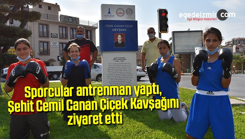 Sporcular antrenman yaptı, Şehit Cemil Canan Çiçek Kavşağını ziyaret etti