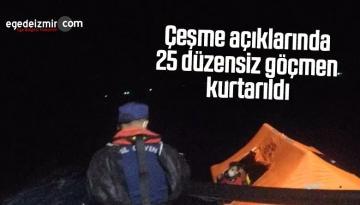Çeşme açıklarında 25 düzensiz göçmen kurtarıldı