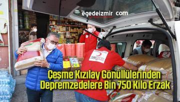 Çeşme Kızılay gönüllülerinden depremzedelere bin 750 kilo erzak
