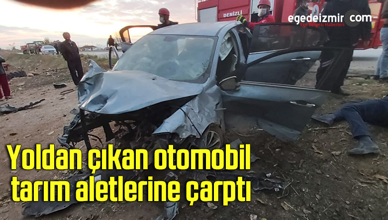 Yoldan çıkan otomobil, tarım aletlerine çarptı: 3 yaralı