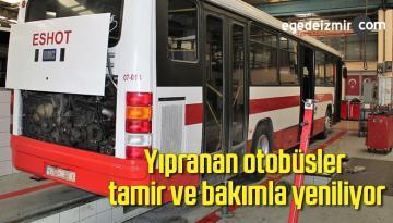 Yıpranan otobüsler tamir ve bakımla yeniliyor