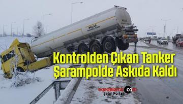 Buzlanma Yüzünden Kontrolden Çıkan Tanker Şarampolde Askıda Kaldı