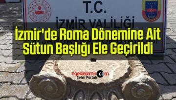 İzmir'de Roma Dönemine Ait Sütun Başlığı Ele Geçirildi