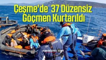 Çeşme'de Türk Kara Sularına İtilen 37 Düzensiz Göçmen Kurtarıldı