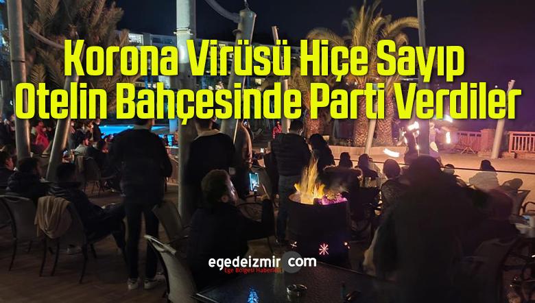 Korona Virüsü Hiçe Sayıp Otelin Bahçesinde Parti Verdiler