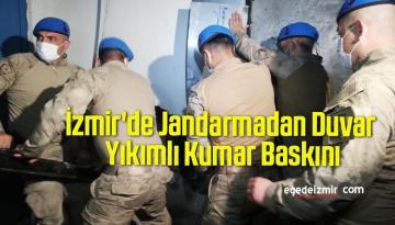 İzmir'de Jandarmadan Duvar Yıkımlı Kumar Baskını