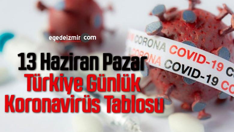 13 Haziran Pazar Türkiye Günlük Koronavirüs Tablosu