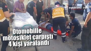Otomobille motosiklet çarpıştı, 4 kişi yaralandı