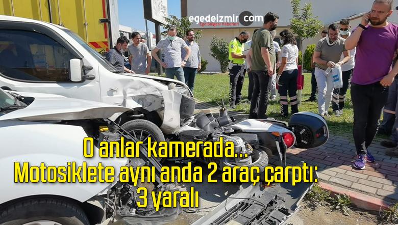 O anlar kamerada…Motosiklete aynı anda 2 araç çarptı: 3 yaralı