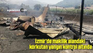 İzmir'de makilik alandaki korkutan yangın kontrol altında