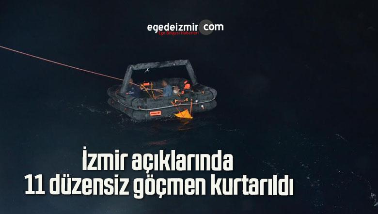 İzmir açıklarında 11 düzensiz göçmen kurtarıldı