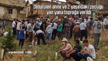 Öldürülen anne ve 2 yaşındaki çocuğu yan yana toprağa verildi