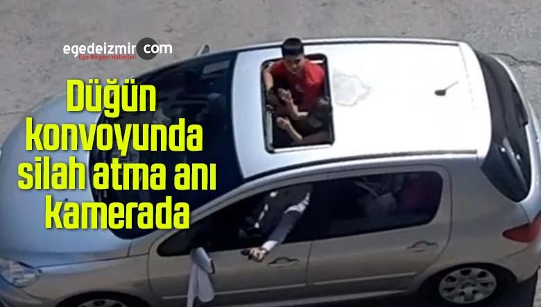Düğün konvoyunda silah atma anı kamerada
