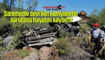 Şarampole devrilen kamyonetin sürücüsü hayatını kaybetti