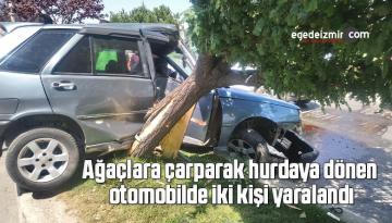 Ağaçlara çarparak hurdaya dönen otomobilde iki kişi yaralandı