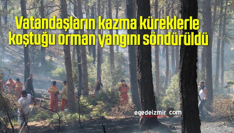 Vatandaşların kazma küreklerle koştuğu orman yangını söndürüldü