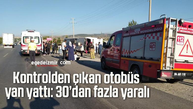 Kontrolden çıkan otobüs yan yattı: 30'dan fazla yaralı