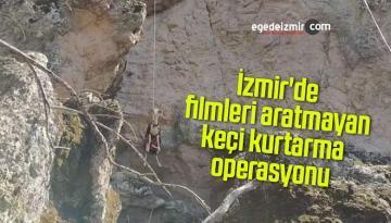 İzmir'de filmleri aratmayan keçi kurtarma operasyonu