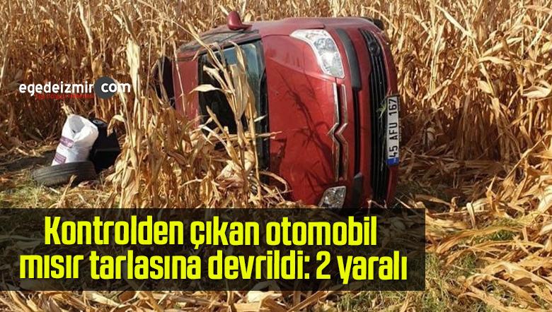 Kontrolden çıkan otomobil mısır tarlasına devrildi: 2 yaralı