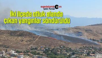 İki ilçede otluk alanda çıkan yangınlar söndürüldü