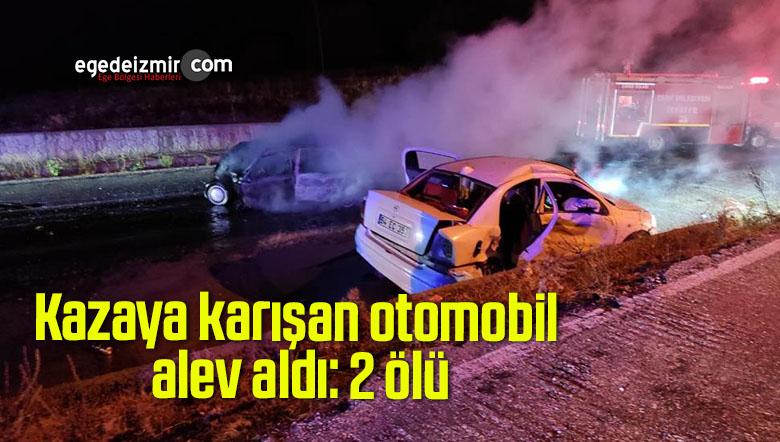 Kazaya karışan otomobil alev aldı: 2 ölü